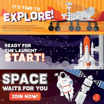 Space travel horizontal banner set isolated