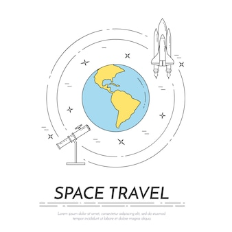 Space travel line banner. set of elements of planets, space ships, ufo, satellite, spyglass and other cosmos pictograms. concept for website, card, infographic, advertise. vector illustration