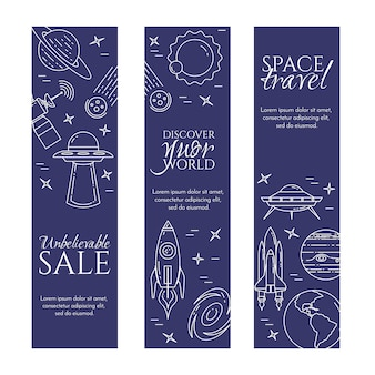 Space travel line banner with cosmos pictograms.