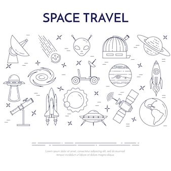 Space travel line banner with elements of planets