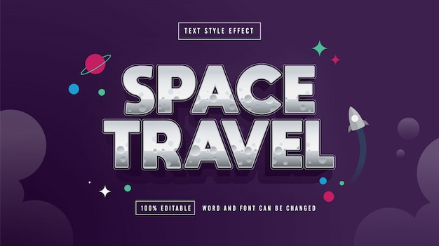 Space travel text effect editable