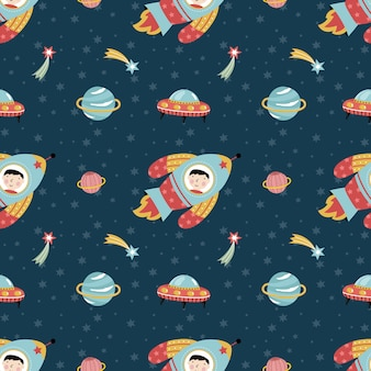 Space travels seamless pattern cartoon