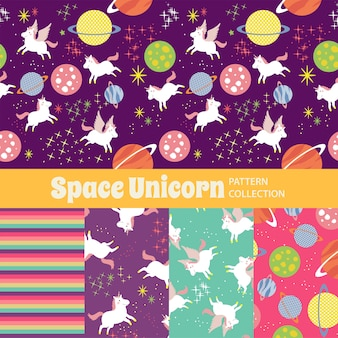 Space unicorn cute rainbow seamless pattern