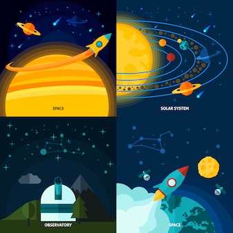 Space and universe flat set