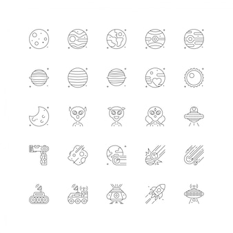Space universe icon set with line style isolated