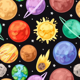 Space universe planets seamless pattern. space, stars, planets. sun, earth, jupiter with saturn, mars, uranus and venus