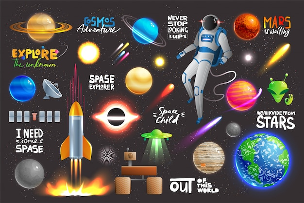 Space universe set, collection of glowing planets, icons and stickers with text,  illustration