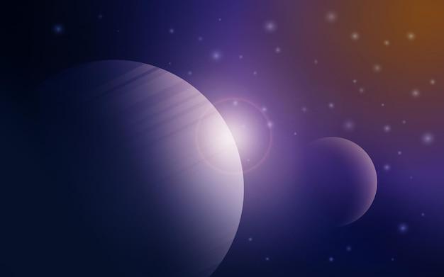 Космический векторный фон с планетой земля и звездами