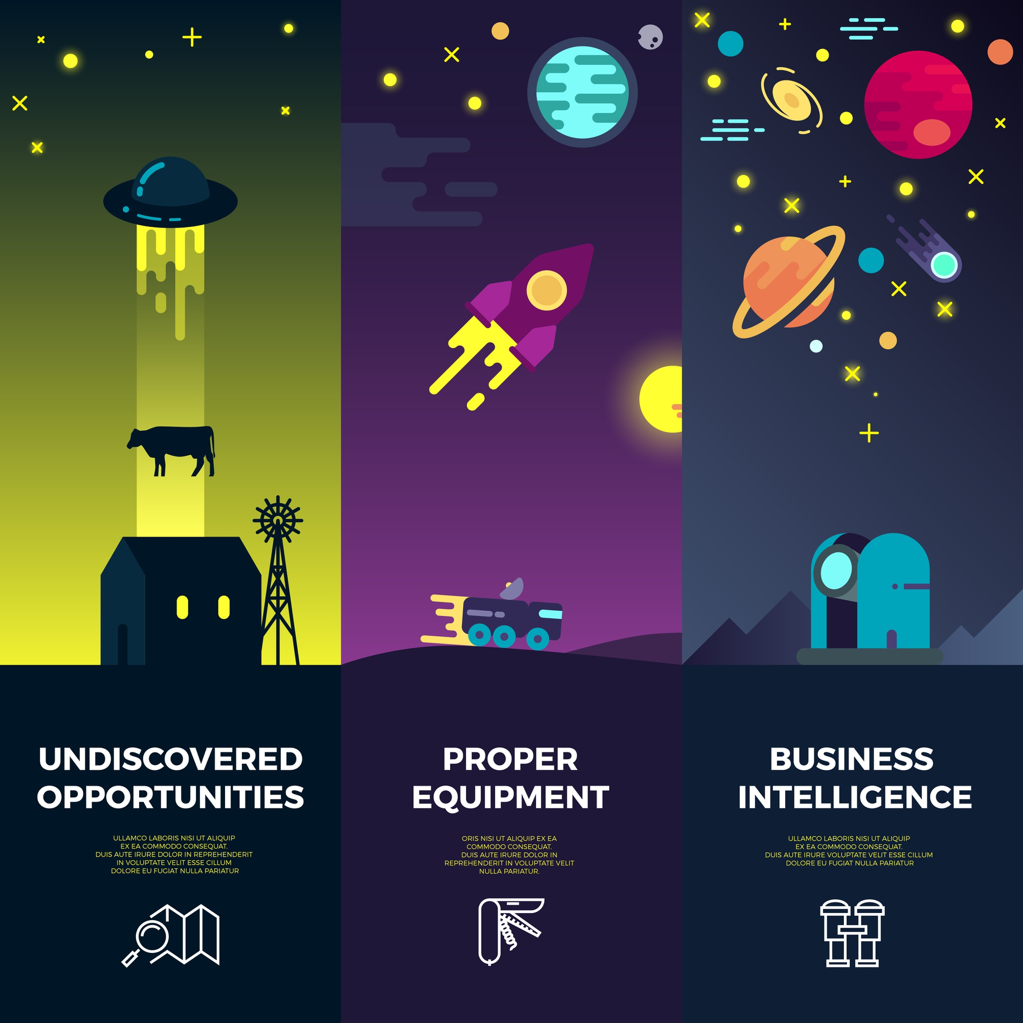 Space vector banners with flat astronomic ufo icons