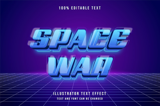 Космическая война, трехмерный редактируемый текстовый эффект синяя градация неоновых футуристических слоев эффект стиля