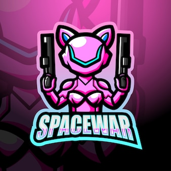 Space war mascot esport logo illustration
