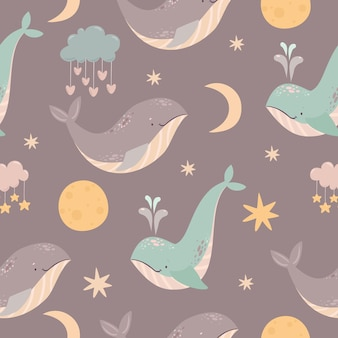 Space whales pattern