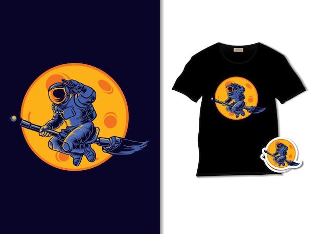 Tシャツのデザインと宇宙魔女のイラスト