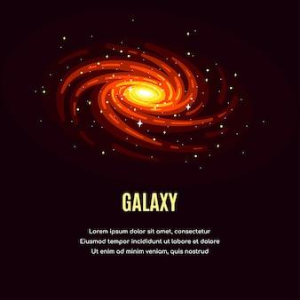은하 디자인과 별이있는 공간. 우주 연구 배너, 외부 공간 탐험.