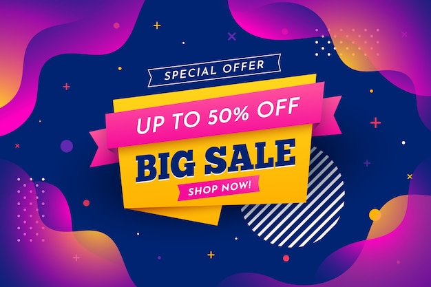 Space with liquid effect big sale background