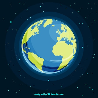 Space with planet earth in flat design