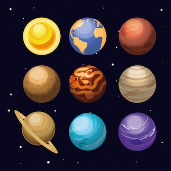 Space with set of planets universe scene
