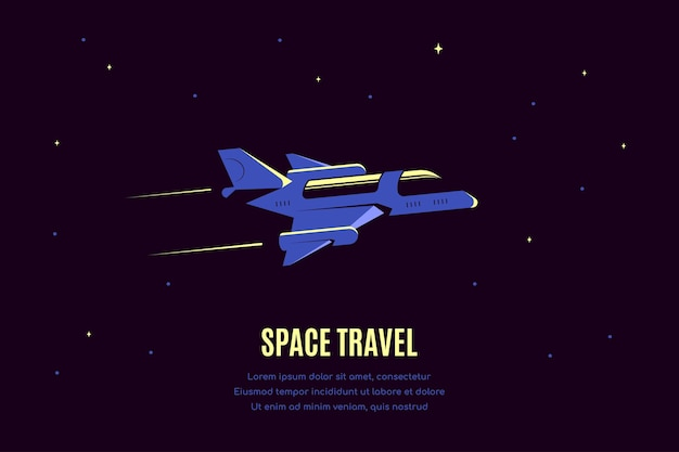 Space  with starship. space travel  banner, exploring outer spase.