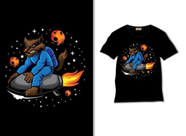 Космический волк садится на ракету, иллюстрация с дизайном футболки