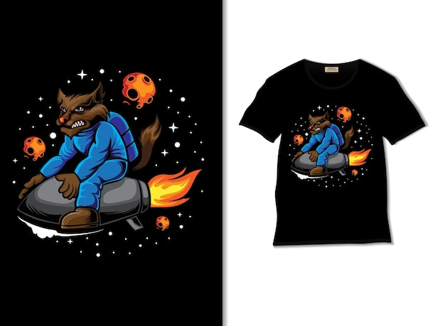 Space wolf board a rocket illustration with t shirt design