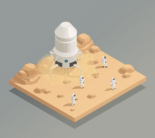 Spacecraft crew astronauts isometric composition