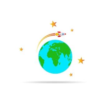 The spacecraft flies around the globe earth. vector illustration.