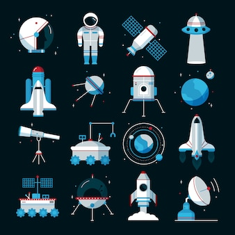 Spacecrafts flat icons set with cosmonaut space suit and equipment