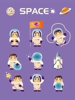 Spaceman characters galaxy exploration space set illustration