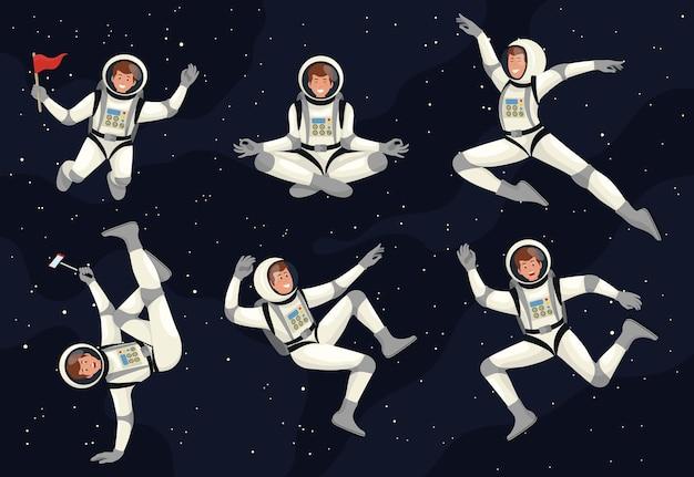 宇宙飛行士宇宙飛行士科学アイコンスペースセット