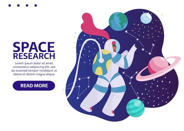 Космонавт в космическом пространстве со звездами, луной, ракетой, астероидами, созвездием. женщина-космонавт из космического корабля, исследующего вселенную и галактику. баннер с местом для вашего текста.