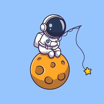 Астронавт рыбалка на луне значок иллюстрации. spaceman mascot мультипликационный персонаж. наука иконка концепция изолированные