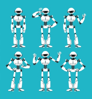 Spaceman robot android in different poses. cute cartoon futuristic humanoid character set