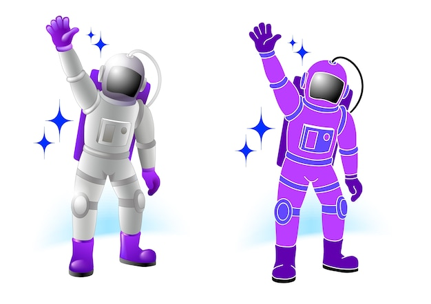 Spacemen characters set in flat color cartoon style.