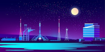 Spaceport, base at night with rocket