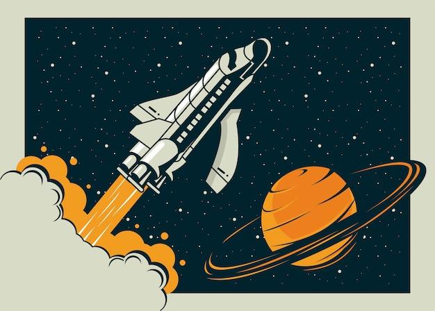 Космический корабль и сатурн в винтажном стиле плаката иллюстрации
