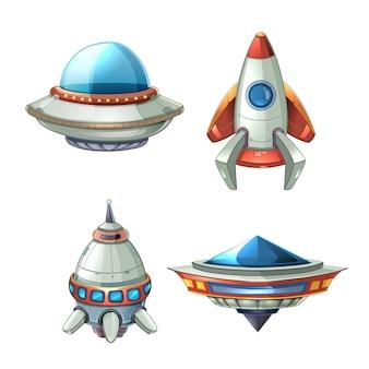 漫画のスタイルで設定された宇宙船とufoベクトル。ロケットと宇宙船、未来の輸送