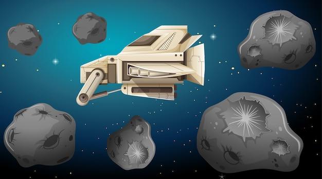 Spaceship in asterpid scene