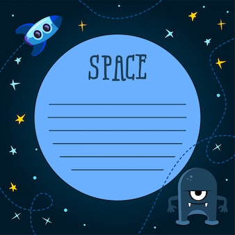 Spaceship background with space for your text in cartoon style