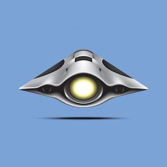 Spaceship on blue background