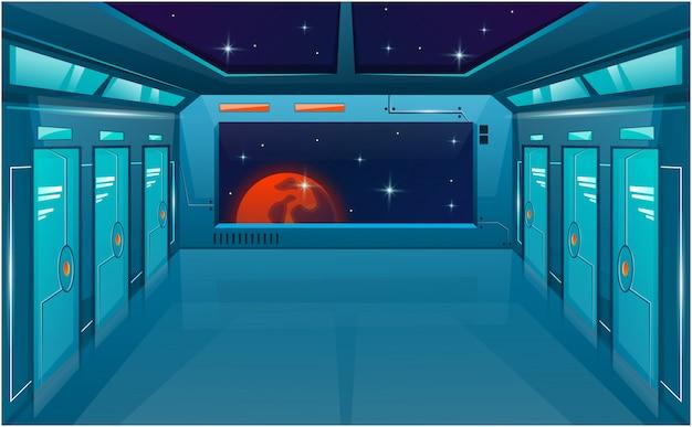 닫힌 문과 큰 창 또는 뷰포트가있는 우주선 복도.