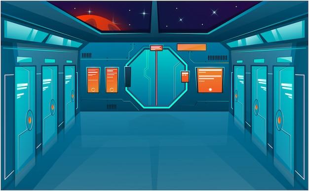 닫힌 문이있는 우주선 복도. 만화 배경 미래형 인테리어 방입니다.