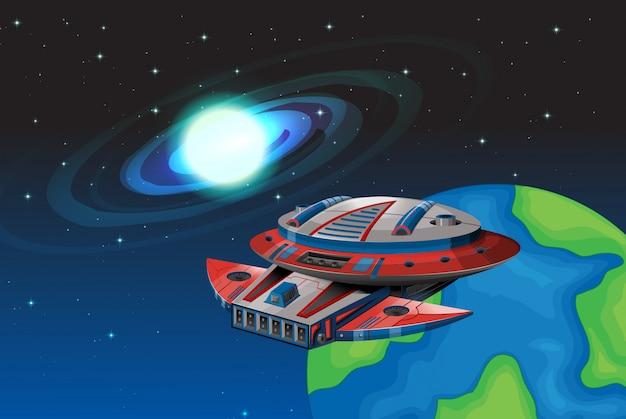 Spaceship floating in the dark space