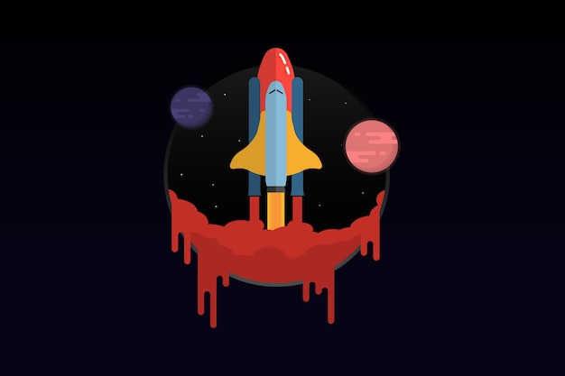 Spaceship fly to space banner concept icon