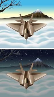 空を飛んでいる宇宙船