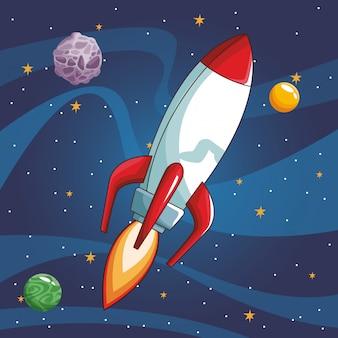 Космический корабль, летящий в космосе