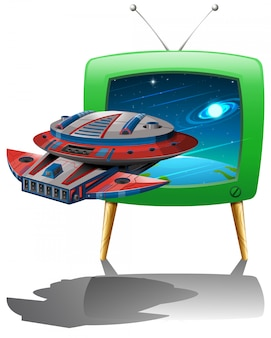 Spaceship flying in the space on tv