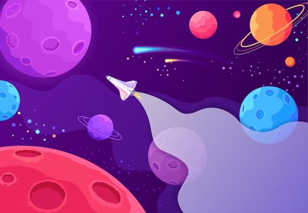 新しい惑星の漫画のカラフルなイラストを見つけるためにオープンスペースを飛んでいる宇宙船