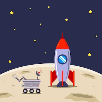 Spaceship has landed on the moon for exploration illustration.