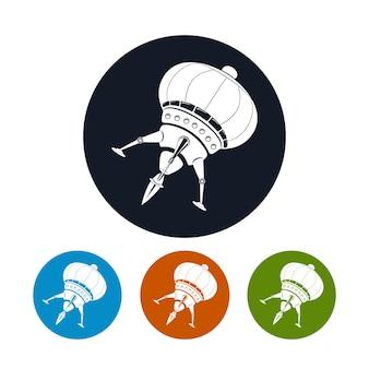 Значок космического корабля, четыре типа красочных круглых значков, векторные иллюстрации