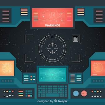 평면 디자인으로 우주선 내부 배경